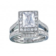 Wholesale Sterling Silver 925 Rhodium Plated Clear CZ Square Bridal Ring Set - BGR00198