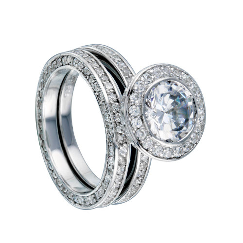 Wholesale Sterling Silver 925 Rhodium Plated Clear CZ Round Bridal Ring Set - BGR00199