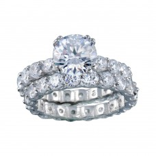 Wholesale Sterling Silver 925 Rhodium Plated Clear Square Center CZ Bridal Ring Set - BGR00212