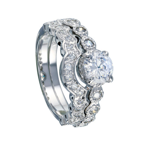 Wholesale Sterling Silver 925 Rhodium Plated Clear Round Center CZ Bridal Ring Set - BGR00219