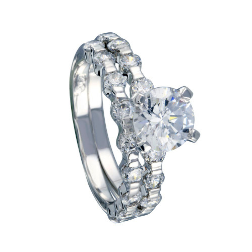 Wholesale Sterling Silver 925 Rhodium Plated Clear Round Center CZ Bridal Ring Set - BGR00233