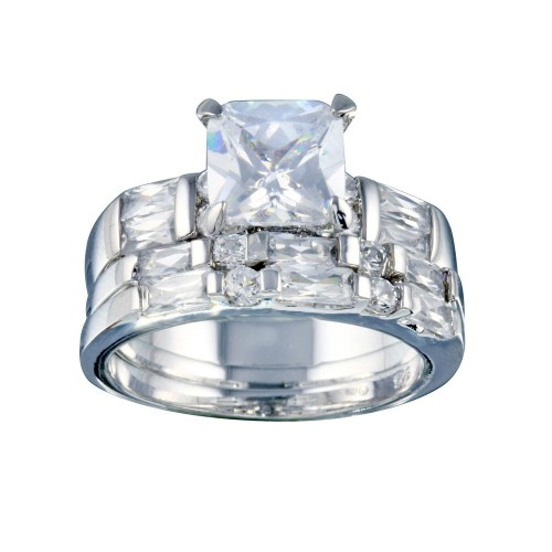 Wholesale Sterling Silver 925 Rhodium Plated Clear Baguette Round Square Center CZ Bridal Ring Set - BGR00248