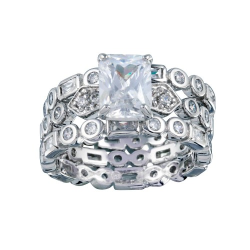 Wholesale Sterling Silver 925 Rhodium Plated Clear CZ Multi Shaped Bridal Engagement Ring Set - BGR00250