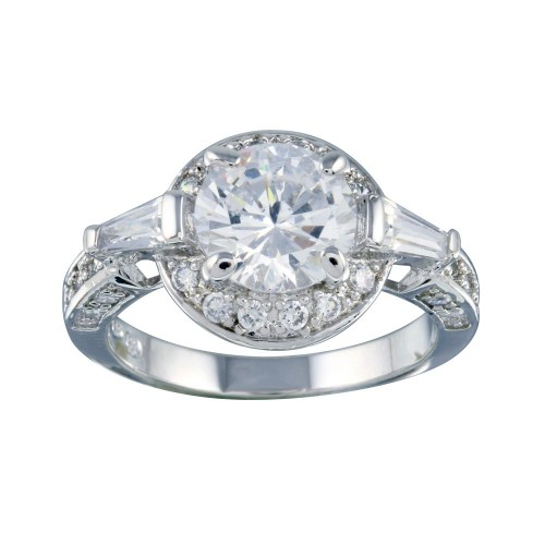 Wholesale Sterling Silver 925 Rhodium Plated Clear CZ Round Bridal Ring - BGR00254