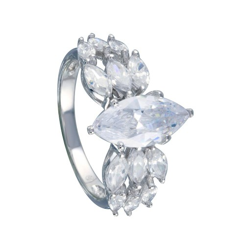 Wholesale Sterling Silver 925 Rhodium Plated Clear Marquise Center CZ Bridal Ring - BGR00255