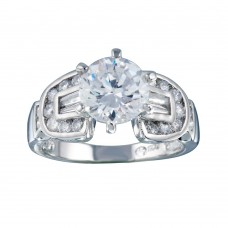 Wholesale Sterling Silver 925 Rhodium Plated Clear Round Center CZ Bridal Ring - BGR00280