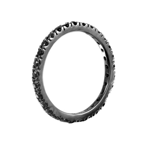 Wholesale Sterling Silver 925 Rhodium Plated Plated Inlay Eternity Ring - BGR00339BLK