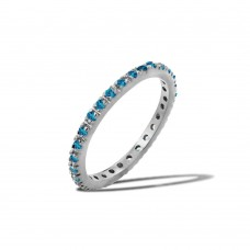 Wholesale Sterling Silver 925 Rhodium Plated Plated Birthstone Inlay Eternity Ring December - BGR00339DEC
