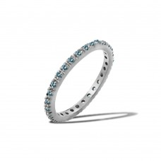 Wholesale Sterling Silver 925 Rhodium Plated Plated Birthstone Inlay Eternity Ring March - BGR00339MAR