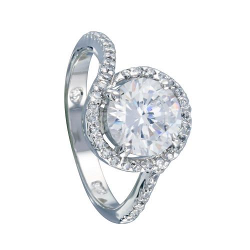 Wholesale Sterling Silver 925 Rhodium Plated Clear Round Center CZ Bridal Ring - BGR00366