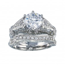 Wholesale Sterling Silver 925 Rhodium Plated Clear Channel Set CZ Bridal Wedding Ring Set - BGR00377