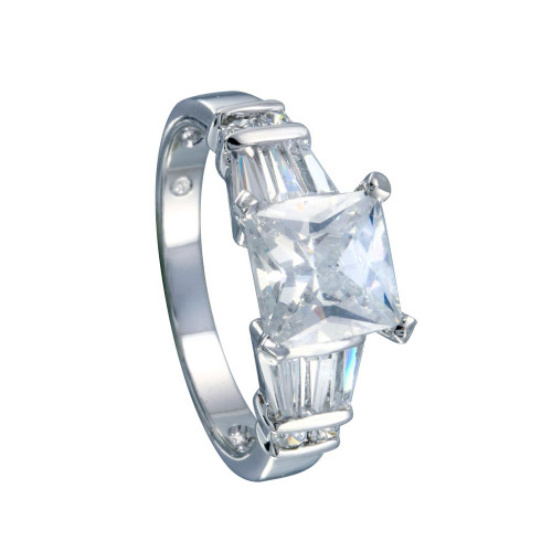 Wholesale Sterling Silver 925 Rhodium Plated Clear Princess Cut Center Round Baguette CZ Bridal Ring - BGR00385