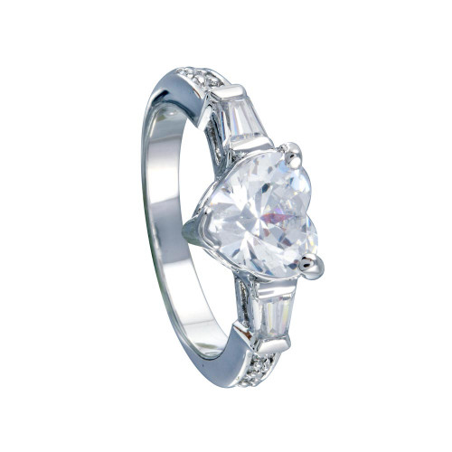 Wholesale Sterling Silver 925 Rhodium Plated Clear CZ Heart Bridal Ring - BGR00388