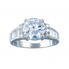 Wholesale Sterling Silver 925 Rhodium Plated Clear Baguette Round Center Center CZ Bridal Ring - BGR00389