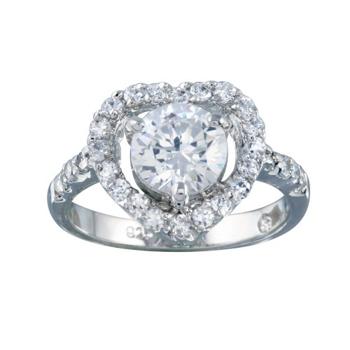 Wholesale Sterling Silver 925 Rhodium Plated Clear Center CZ Heart Bridal Ring - BGR00390