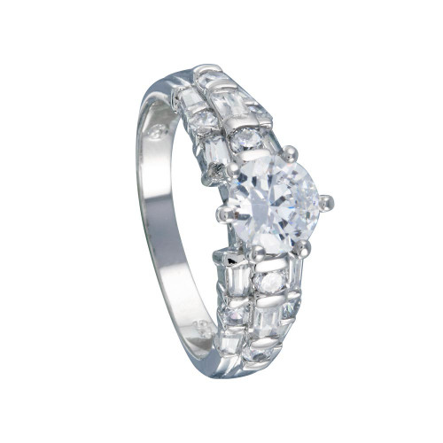 Wholesale Sterling Silver 925 Rhodium Plated Clear Baguette Round CZ Bridal Ring - BGR00393