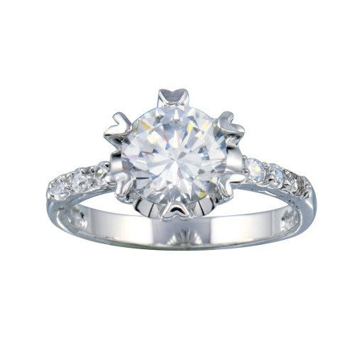 Wholesale Sterling Silver 925 Rhodium Plated Clear CZ Bridal Ring - BGR00398