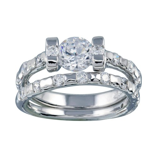 Wholesale Sterling Silver 925 Rhodium Plated Clear Center CZ Bridal Ring Set - BGR00403