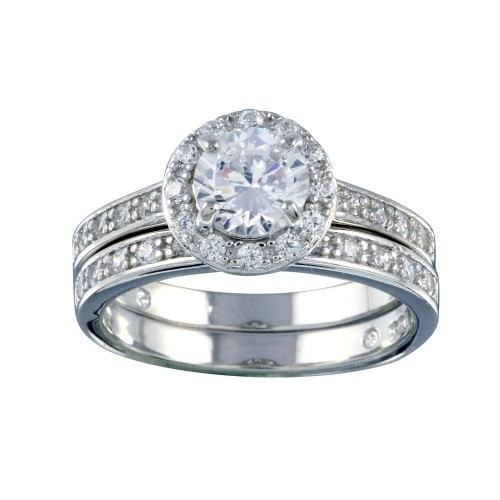 Wholesale Sterling Silver 925 Rhodium Plated Clear CZ Round Bridal Ring Set - BGR00459