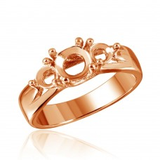 Wholesale Sterling Silver 925 Rose Gold Plated 3 Stones Mounting Ring - BGR00481RGP