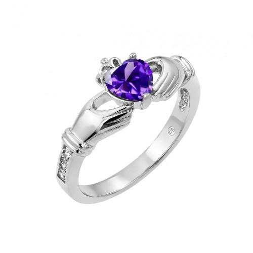 Wholesale Sterling Silver 925 Rhodium Plated Purple Heart CZ Claddagh Ring - BGR00491PUR