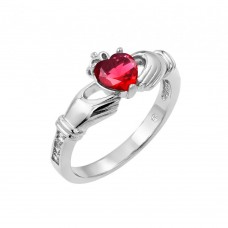 Wholesale Sterling Silver 925 Rhodium Plated Red Heart CZ Claddagh Ring - BGR00491RED
