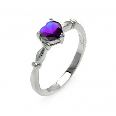 Sterling Silver Rhodium Plated CZ Heart Purple February Ring - BGR00521FEB