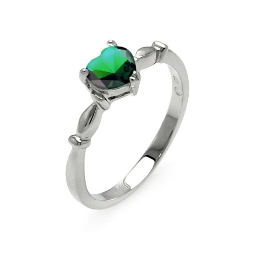 Wholesale Sterling Silver 925 Rhodium Plated CZ Heart Green May Ring - BGR00521MAY