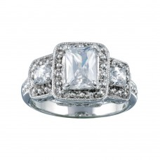 Wholesale Sterling Silver 925 Rhodium Plated 3 Set Square Clear CZ Bridal Ring - BGR00552