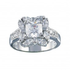 Wholesale Sterling Silver 925 Rhodium Plated Clear Center CZ Square Bridal Ring - BGR00559