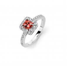 Sterling Silver Rhodium Plated Clear Micro Pave Set Red Square Center CZ Bridal Ring - BGR00733