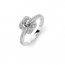 Sterling Silver Rhodium Plated Clear Micro Pave Set and Square Center CZ Bridal Ring - BGR00736
