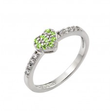 Wholesale Sterling Silver 925 Rhodium Plated Clear Inlay CZ August Birthstone Heart Ring  - BGR00784AUG