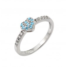 Wholesale Sterling Silver 925 Rhodium Plated Clear Inlay CZ December Birthstone Heart Ring  - BGR00784DEC