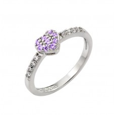 Wholesale Sterling Silver 925 Rhodium Plated Clear Inlay CZ February Birthstone Heart Ring  - BGR00784FEB