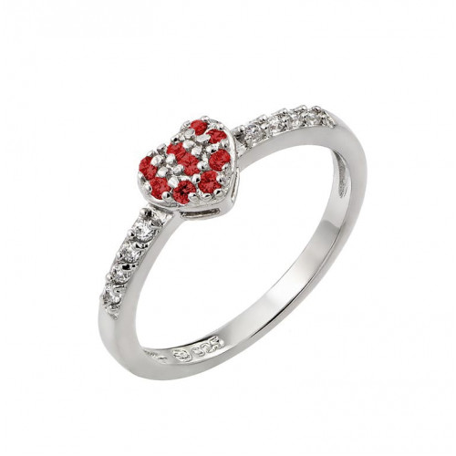 Wholesale Sterling Silver 925 Rhodium Plated Clear Inlay CZ January Birthstone Heart Ring  - BGR00784JAN