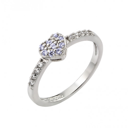 Wholesale Sterling Silver 925 Rhodium Plated Clear Inlay CZ June Birthstone Heart Ring  - BGR00784JUN