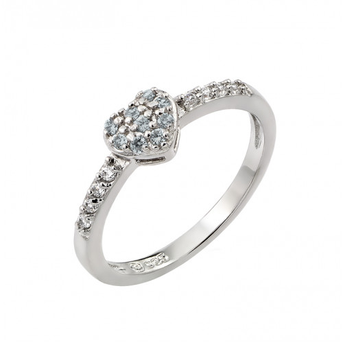 Wholesale Sterling Silver 925 Rhodium Plated Clear Inlay CZ March Birthstone Heart Ring  - BGR00784MAR