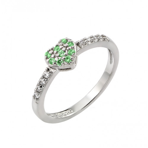 Wholesale Sterling Silver 925 Rhodium Plated Clear Inlay CZ May Birthstone Heart Ring  - BGR00784MAY