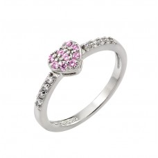 Wholesale Sterling Silver 925 Rhodium Plated Clear Inlay CZ October Birthstone Heart Ring  - BGR00784OCT