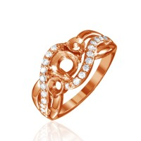 Wholesale Sterling Silver 925 Rose Gold Plated 3 Mounting Stones Taper Shank Ring - BGR00813RGP