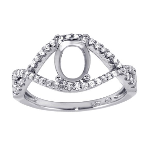 Wholesale Sterling Silver 925 Rhodium Plated Twisted Center Mounting Ring with CZ - BGR00933