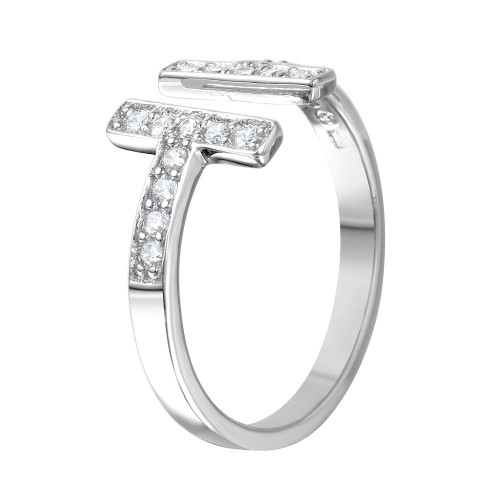 Wholesale Sterling Silver 925 Rhodium Plated CZ Double T-Bar Ring - BGR00993