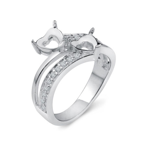 Wholesale Sterling Silver 925 Rhodium Plated Double Heart Ring with CZ - BGR01021