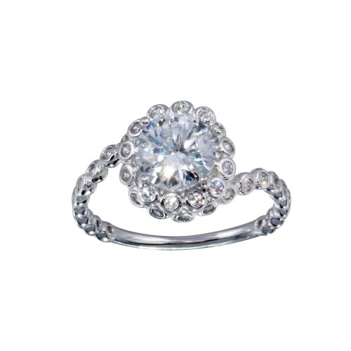 Wholesale Sterling Silver 925 Rhodium Plated Bubble Shank Round Center CZ Ring - BGR01038