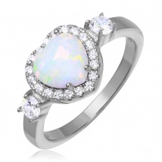 Wholesale Sterling Silver 925 Rhodium Plated Halo Heart Ring with Synthetic Opal and CZ - BGR01043