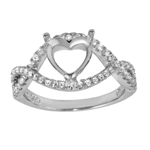 Wholesale Sterling Silver 925 Rhodium Plated Twisted Center Mounting for Heart Stone Ring with CZ - BGR01060
