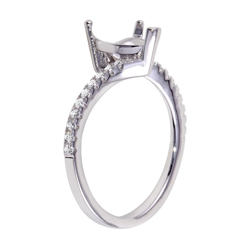 Wholesale Sterling Silver 925 Rhodium Plated Asymmetrical Heart Stone Mounting Ring with CZ - BGR01061