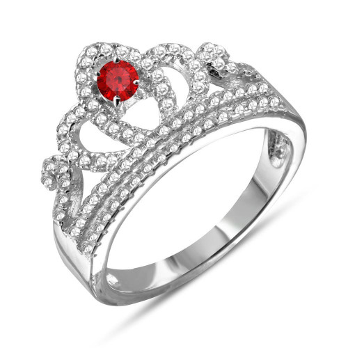 Wholesale Sterling Silver 925 Rhodium Plated Tiara with Red and Clear CZ Ring - BGR01108RED