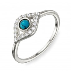 Wholesale Sterling Silver 925 Rhodium Plated Evil Eye CZ Ring with Turquoise Bead - BGR01109RH
